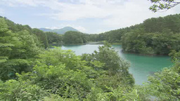 Beautiful lake in Bandai Asahi National Park, Fukushima, Japan Footage