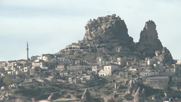 Natural fortress of Uchisar in Cappadocia, Turkey Footage