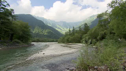 Water flows in a river, Kamikochi, Japan Footage