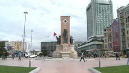 People walking in Taksim Square in Istanbul, Turkey Footage