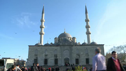 People walking in front of mosque in Istanbul, Turkey Footage