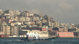 Ships passing through Bosphorus in Turkey Footage