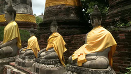 Statues of buddhas in Ayutthaya, Thailand Stock Video Footage