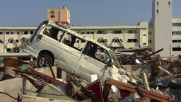Devastated area by Tsunami occurred on March 11, 2011 in Japan Footage