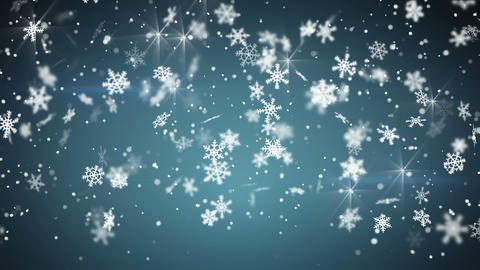 snowfall on blue seamless loop christmas background 4k (4096x2304) Animation