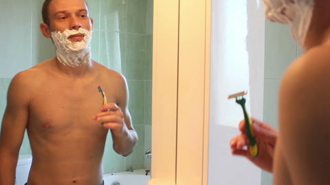 shaving face man time lapse Footage