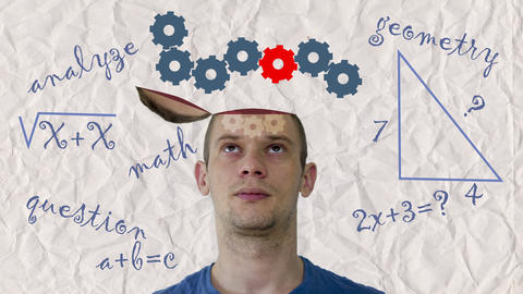 Math , gears human head 4k loop Animation