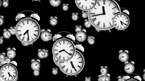 Alarm clocks falling down with depth of field effect Animation