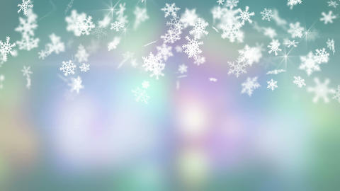 christmas snowfall on colorful background seamless loop 4k (4096x2304) Animation