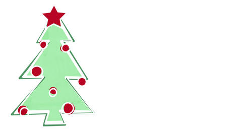 christmas tree child's drawing style and empty space 4k (4096x2304) Animation