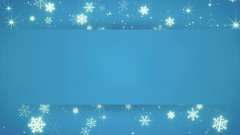 blue banner and christmas snowfall seamless loop 4k (4096x2304) Animation