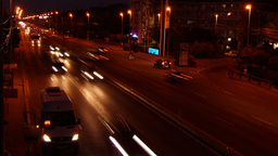 Otopeni, Near Bucharest, Romania - October2015. Traffic At Night On National Hig stock footage