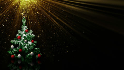 christmas tree in light rays and empty space loop 4k (4096x2304) Footage