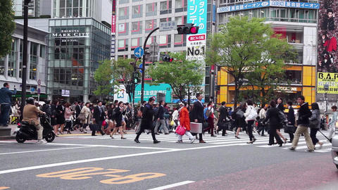 21of 23 People , pedestrians walking , street , Shibuya Crossing , Tokyo , Japan Footage