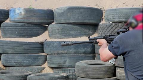 Practical shooting a shotgun Stock Video Footage