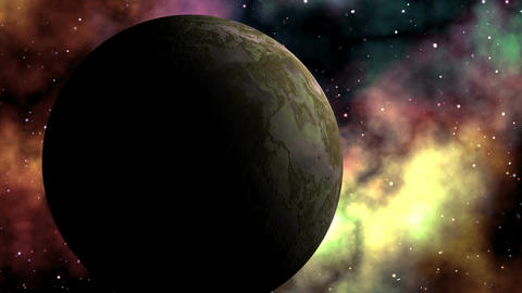 Major planet against bright nebula Stock Video Footage