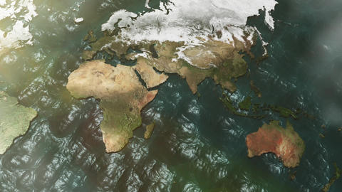 3D Map Zoom to Australia with Sun and Clouds CG動画