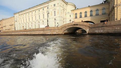 walking on a boat in St. Petersburg Stock Video Footage
