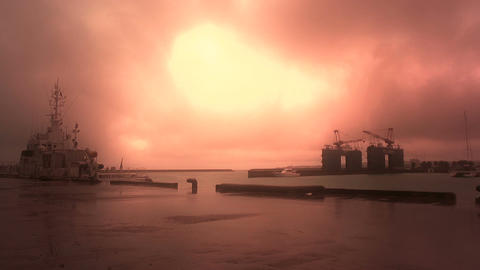 Japan Coast Guard Ship in a Port in Okinawa 03 stylized Stock Video Footage