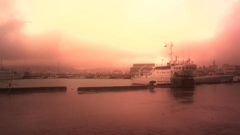 Japan Coast Guard Ship in a Port in Okinawa 02 stylized Stock Video Footage