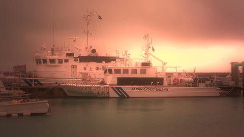 Japan Coast Guard Ship in a Port in Okinawa 06 stylized Stock Video Footage