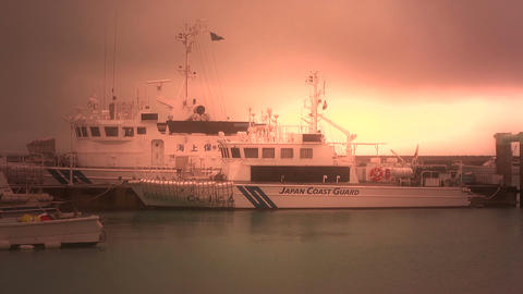 Japan Coast Guard Ship in a Port in Okinawa 06 stylized Footage