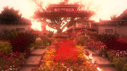 Japanese Garden and Elementary School entrance in Japan... Stock Video Footage