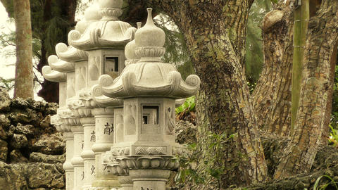 Japanese Shrine in Japanese Garden stylized 02 Stock Video Footage