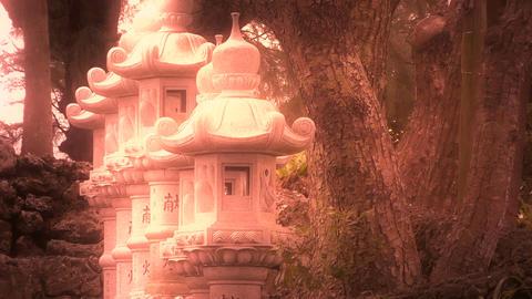 Japanese Shrine in Japanese Garden stylized 08 Stock Video Footage