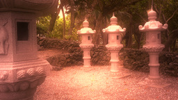 Japanese Shrine in Japanese Garden stylized 10 Stock Video Footage