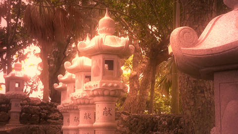 Japanese Shrine in Japanese Garden stylized 12 Stock Video Footage