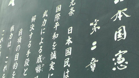 Japanese Text on Stone 06 Stock Video Footage
