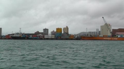 Leaving Port in Ishigaki Okinawa Islands 02 tracking shot... Stock Video Footage