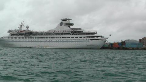 Leaving Port Okinawa Islands 03 cruise ship tracking shot... Stock Video Footage
