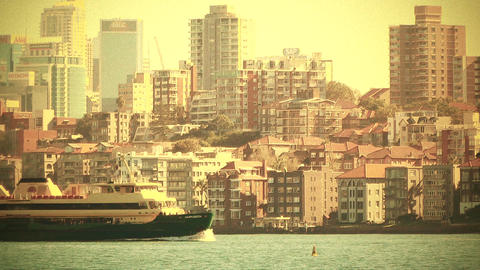 North Sydney view 70s old film stylized Stock Video Footage