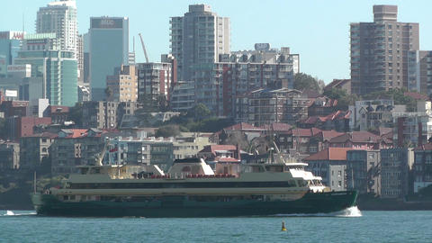 North Sydney view with Ferry 03 Footage