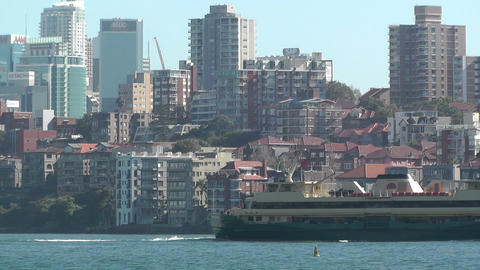 North Sydney view with Ferry 03 Stock Video Footage