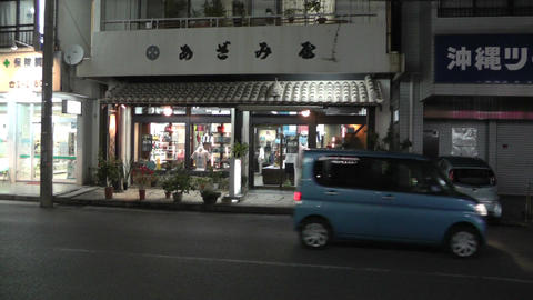 Okinawa Islands Street at Night 03 handheld Stock Video Footage