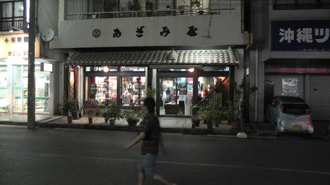 Okinawa Islands Street at Night 03 handheld Footage