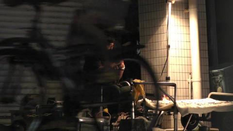 Okinawa Islands Street at Night 05 street artist handheld... Stock Video Footage