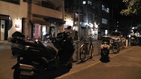 Okinawa Islands Street at Night 09 60fps native slowmotion Stock Video Footage