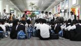 Okinawa Naha Airport Terminal 09 children waiting Footage