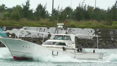 Port in Ishigaki Okinawa 10 vessel 60fps native slowmotion Stock Video Footage