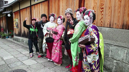 6of 10 People , geishas , tourists , Kyoto , Japan , Asia Live Action