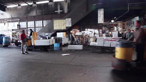 8of 23 Seafood , shops , people , Tsukiji fish market , Tokyo , Japan , Asia Footage