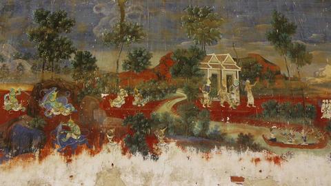 Phnom Penh Cambodia Royal Palace art paintings 13 Footage