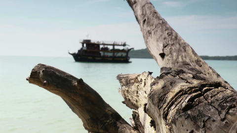 Sihanoukville Boat And Tropical Sea stock footage