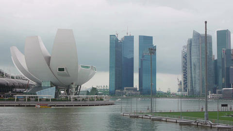 Singapore Asia skyline buildings skyscrapers Marina Bay sea timelapse 03 Footage