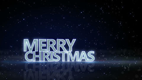 merry christmas neon glow text and sparkling particles loop 4k (4096x2304) Animation