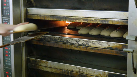 german bakery fill up an oven with bread 11696 Footage